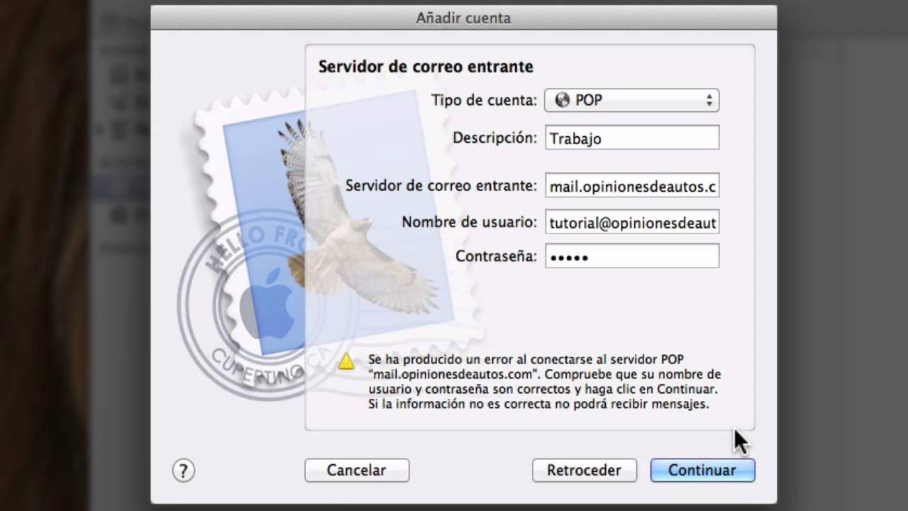 Tutorial: Configuración de cliente Mail en Mac OS X POP IMAP SMTP