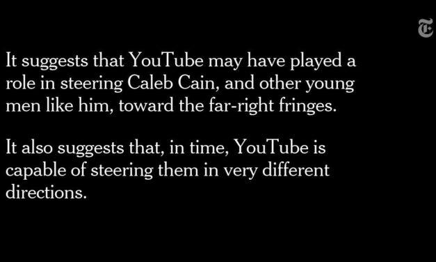 Estas entrevistas y puntos de datos forman una imagen de un joven desilusionado, un grupo de reaccionarios de derecha conocedores de Internet y el poderoso algoritmo de YouTube que conectó a los dos. https://nyti.ms/2QW3JPj pic.twitter.com/3XYDeryKTx